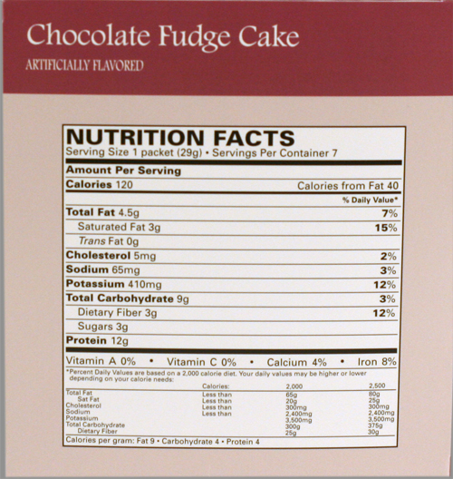 Chocolate Fudge Cake Nutritional Information